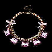 Fashion Alloy With Pink Rhinestone And Glass Necklace