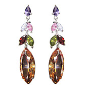 Unique Multicolor Platinum Plated With  Oval Shape Cubic Zirconia Earrings