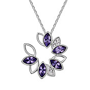 Austrian Crystal With Real Platinum Plated Anti-Allergy Ladies Necklace Faramita Flower (More Colors)