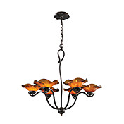 Comtemporary Metal Chandeliers with 6 Lights Floral Design