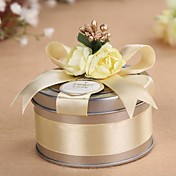 Round Metal Golden Favor Tin - Set of 6