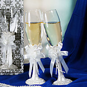 Pearl White Wedding Toasting Flute Set With Bow