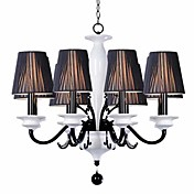Elegant Metal Chandeliers with 8 Lights with White Ceramic Pillar