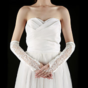 Satin / Lace Fingerless Elbow Length With Embroidery / Rhinestone Bridal Gloves (More Colors)