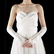 Satin / Lace Fingerless Elbow Length With Rhinestone / Appliques Wedding Bridal Gloves (More Colors)