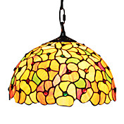 60W Tiffany Glass Pendent Light with Blossoms Pattern
