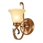 40W Antique Glass Wall Light with 1 Light with Metal Stand