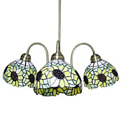 Tiffany glaslysekroner med 3 lamper i Sunflower Design
