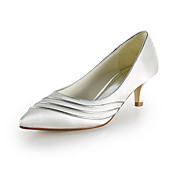 Satin Kitten Heel Pointy Toe/ Closed Toe Wedding Shoes(More Colors)