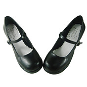 Handmade Black PU Leather 6.3cm High Heel Simple Style Classic Lolita Shoes