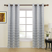 (Two Panels) Contemporary Grey Horizontal Stripes Room Darkening Curtains
