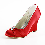 Beautiful Satin Wedge Heel Wedges Women's Shoes Wedding / Party Shoes With Ruffles
