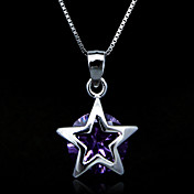 Fine Jewelry Elegant Star Amethyst Sterling Silver Necklace