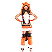 Sexy Adult Ladies Fox Foxy Halloween Costume(6 Pieces)