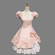 Puff Sleeve Knee-length Pink Cotton Sweet Lolita Dress