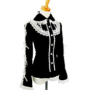 Long Sleeve Black Cotton Princess Lolita Blouse with Lace