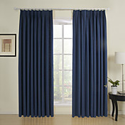 (Two Panels) Solid Navy Linen Lined Curtains