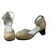 Elegant Beige PU Leather 6.3cm Wedge Classic Lolita Shoes