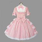 Short Sleeve Knee-length Pink and White Cotton Sweet Lolita Dress