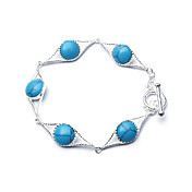Elegant Fashion Jewelry Five Round Imitation Gem Stone Silver Plate Bracelet
