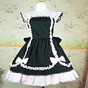 Sleeveless Knee-length Black Cotton White Lace Shiro& Kuro Lolita Dress