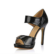 Classic Patent Leather Stiletto Heel Sandals With Buckle Party/Evening Shoes