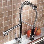 Solid Brass Spring Kitchen Faucet with Two Spouts - Chrome Finish