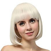 Capless Short White Straight Synthetic Wigs