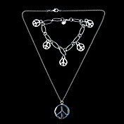 Beautiful Silver Plated Mujeres Plane Peace Joyera Set incluyendo el collar, pulsera