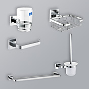 Chrome Finish 5-Piece Bathroom Hardware Accessory Set With Rectangular Wire Basket Holder Soap Dish