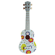 (Blossom) Plywood Basswood White Soprano Ukulele with Bag/String/Picks