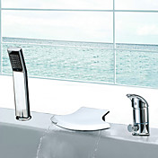 Waterfall Two Handles Contemporary Widespread Chrome Finish Tub Faucet With Handshower