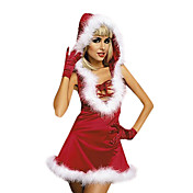Elegant Red Santin Dress Christmas Costume (3 Pieces)