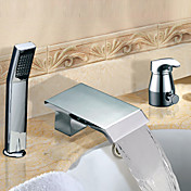Widespread Chrome Finish Contemporary Two Handles Waterfall Tub Faucet With Handshower
