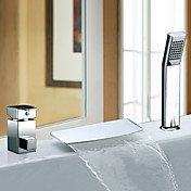 Two Handles Contemporary Waterfall Chrome Finish Widespread Tub Faucet With Handshower