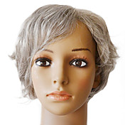 100% Indian Remy Hair Lace Front Silky Straight Short Grey Wig
