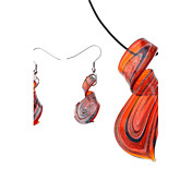 Ruban motif color de lustre boucles d'oreilles Collier Jewelry Set