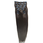 24 Inch 10 Pcs 100% Indian Remy Hair Silky Straight Clip In Hair Extensions