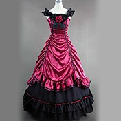 Sleeveless Floor-length Red Satin and Cotton Aristocrat Lolita Dress