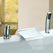 Chrome Finish Waterfall Two Handles Contemporary Widespread Tub Faucet With Handshower