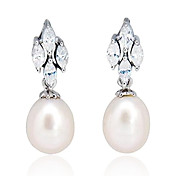 Charming Sterling Silver Fresh Water Pearl Drop Earrings(8*8mm)