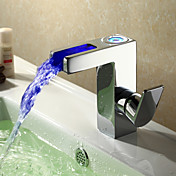 Sprinkle® by Lightinthebox - Contemporary LED Waterfall Bathroom Sink Faucet - Chrome Finish
