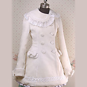 Long Sleeves Knee-length Lacework Ivory Jazz Wool Princess Lolita Coat