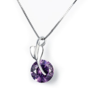 Personlized 925 Silver Leaf With Amethyst Necklace