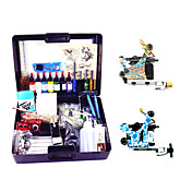2 Carbon Steel Tattoo Machine Guns Kit med LCD Power og breveske