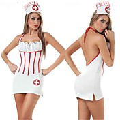 Fancy White Nurse Dress Halloween Costume(4 Pieces)