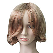 Capless 100% Human Hair Golden Blonde Short Wavy Hair Wig