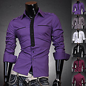 Menn Fashion Fake Collar Solid Color Shirt
