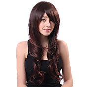 Capless Long Brown Curly Heat-resistant Fiber Side Bang Wigs