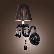 Black Crystal Wall Light with Fabric Shade